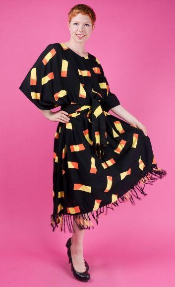 ANTHONY MARK HANKINS Black Fringed Caftan Dress NWT Free Size