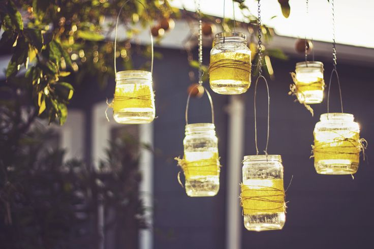 Evening party - mason jar candle holders from trees