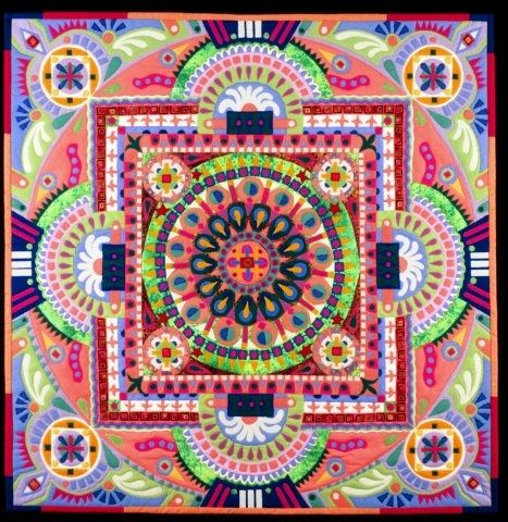 Linda Rudin Frizzell:- Pepperoni Pizza Mandala (Art Quilt)
