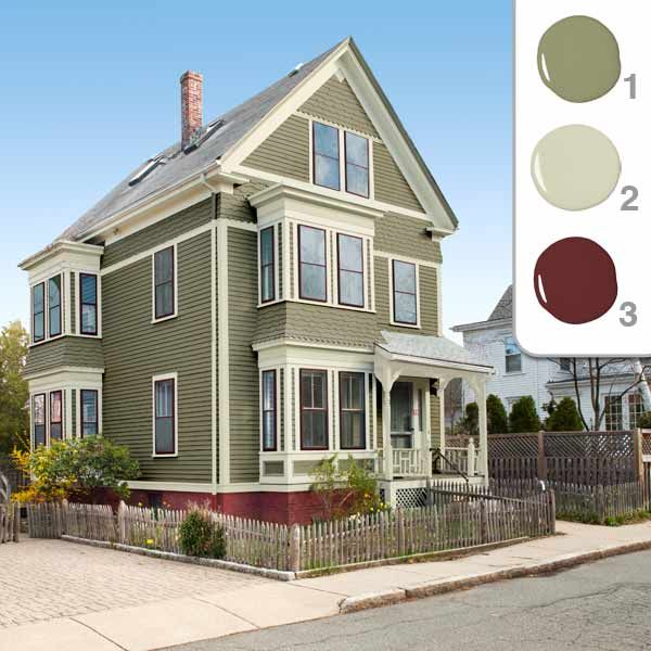 Best Exterior Color Scheme Gray Green Cream Trim Maroon 640 x 480