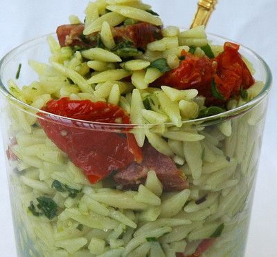 orzo add pesto, chopped sun dried tomatoes, freshly shredded basil ...