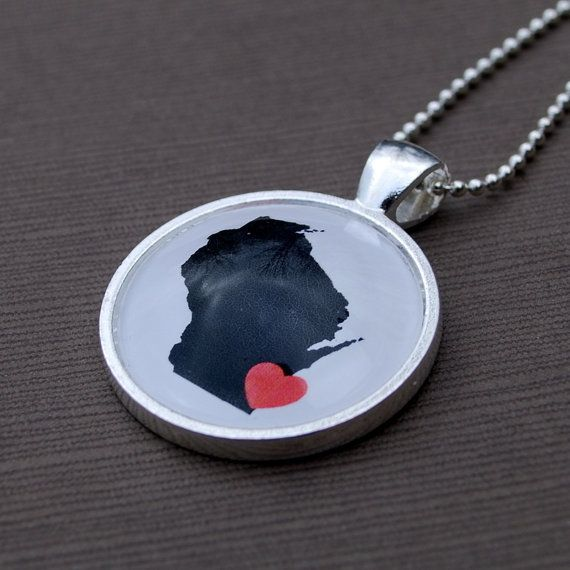 Wisconsin Love  Map Necklace Pendant by DaisyMaeDesignsShop, $25.00