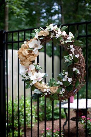 Beautiful wreath with magnolia...