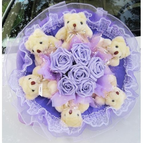 ... Plush Teddy Bear Flower Bouquet Birthday Gift-2 Styles and Colors