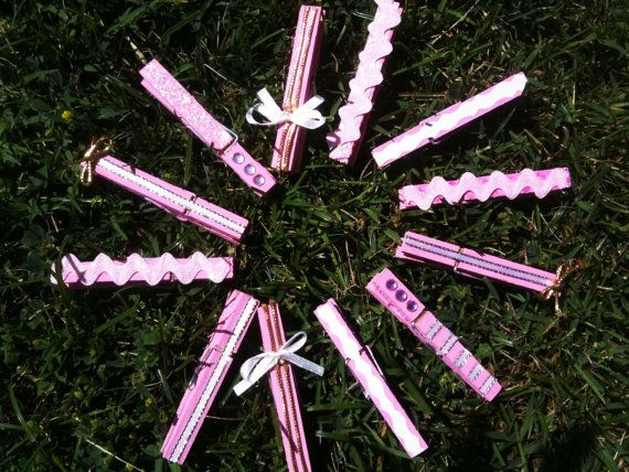 pink girl baby shower wooden clothespins set of 25