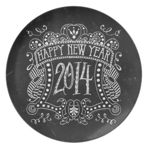Vintage Chalk Style Serving Plate Happy New Year