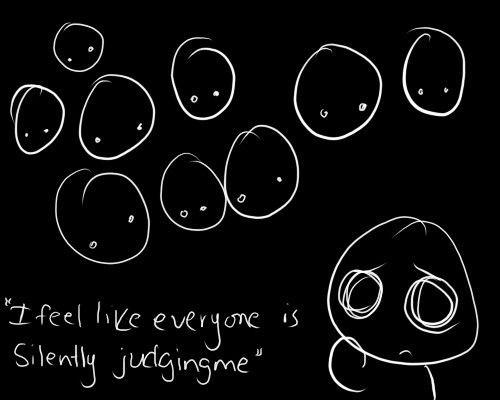 (12) social anxiety | Tumblr Judges Everyone, Anxiety Art, Life, Quotes, Social Anxiety, Anxiety Depression, Anxiety Dis...