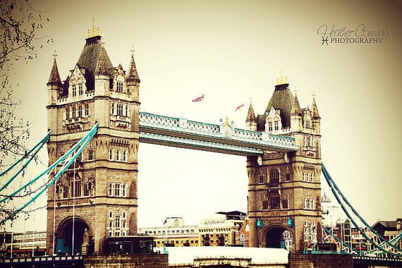 ON SALE Vintage Tower Bridge London signed by HConwayPhotography, $22.00
