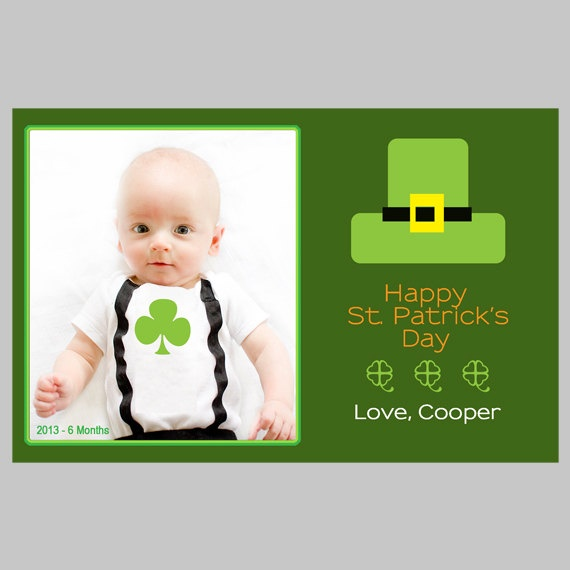 Leprechaun Hat - St. Patrick's Day Printable Photo Card Template. $12 ...