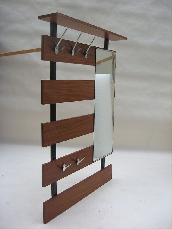 architectural wall mount coat rack mirror danish modern. Black Bedroom Furniture Sets. Home Design Ideas