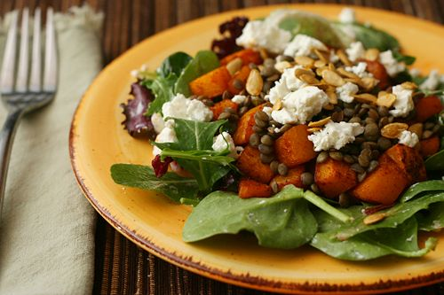 Lentil Salad w/ Roasted Squash and Goat Cheese by BridgetMc