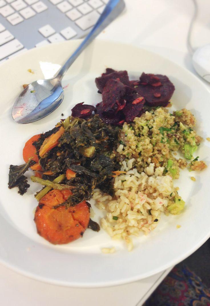 Inn dinner , roasted veggies, carrots and kale, beets , quinoa salad ...