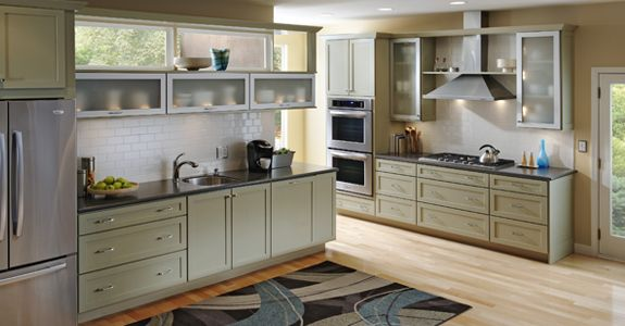 Kraftmaid mapleton in willow cabinet color with glass cabinets as
