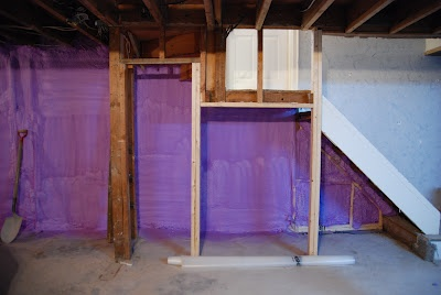 spray foam the basement exterior walls under the stairs ceiling