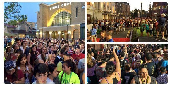 Fans do Harry Potter no Beco Diagonal.