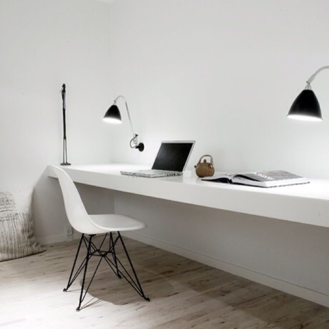 Long Floating Desk, writing, computer, modern, contemporary, white