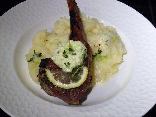 Grilled Double-Cut Lamb Chops, Green Garlic Herb Butter, Green Garlic ...