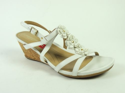 Naturalizer Women s SUDI Shoes White Leather Wedge Sandals Size 11