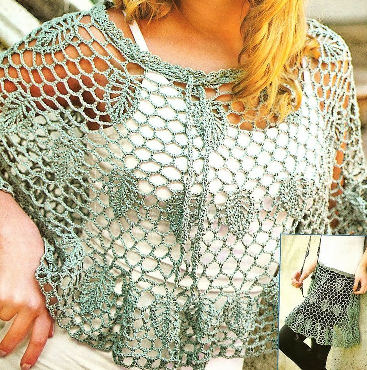 tejidos artesanales: poncho y pollera calada tejida en crochet.