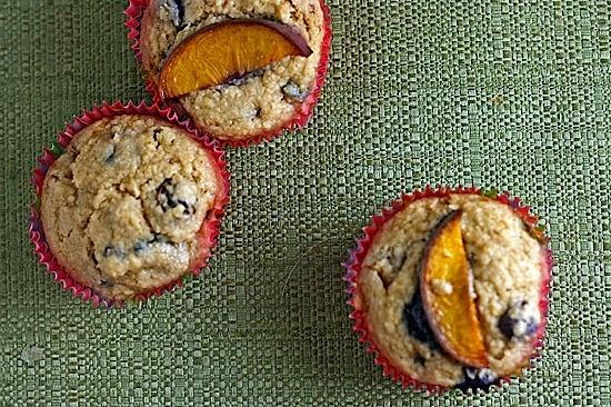 Blueberry & peach bran muffins.