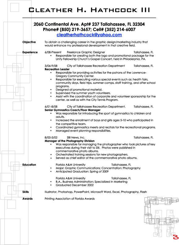 Outline for a resume