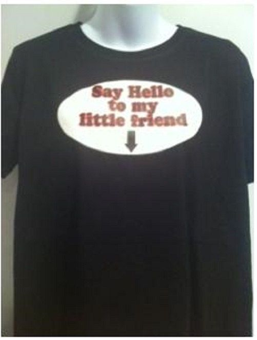 Say Hello Little Friend Funny Movie Quote Maternity Black Tee