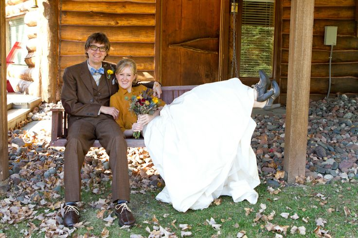 Harry Potter Wedding: Bride and groom pose on wooden swing
