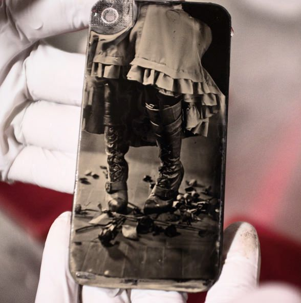 iPhones are made of glass and collodion wet-plate photos are shot onto glass…
