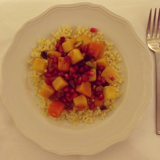 Pearl couscous, cardamom roasted butternut squash, pomegranate, and ...
