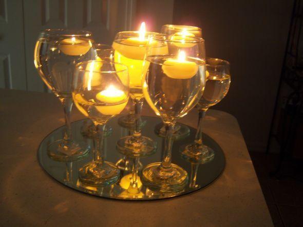 Wedding centerpieces wine glasses