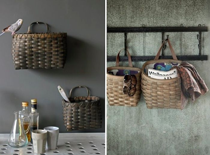 7 baskets as wallmounted storage by