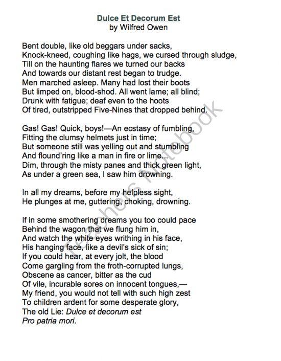 dulce et decorum est poem analysis essay