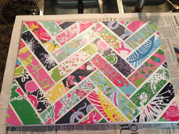 Made this with pages from an old Lily Pulitzer agenda and some mod podge!