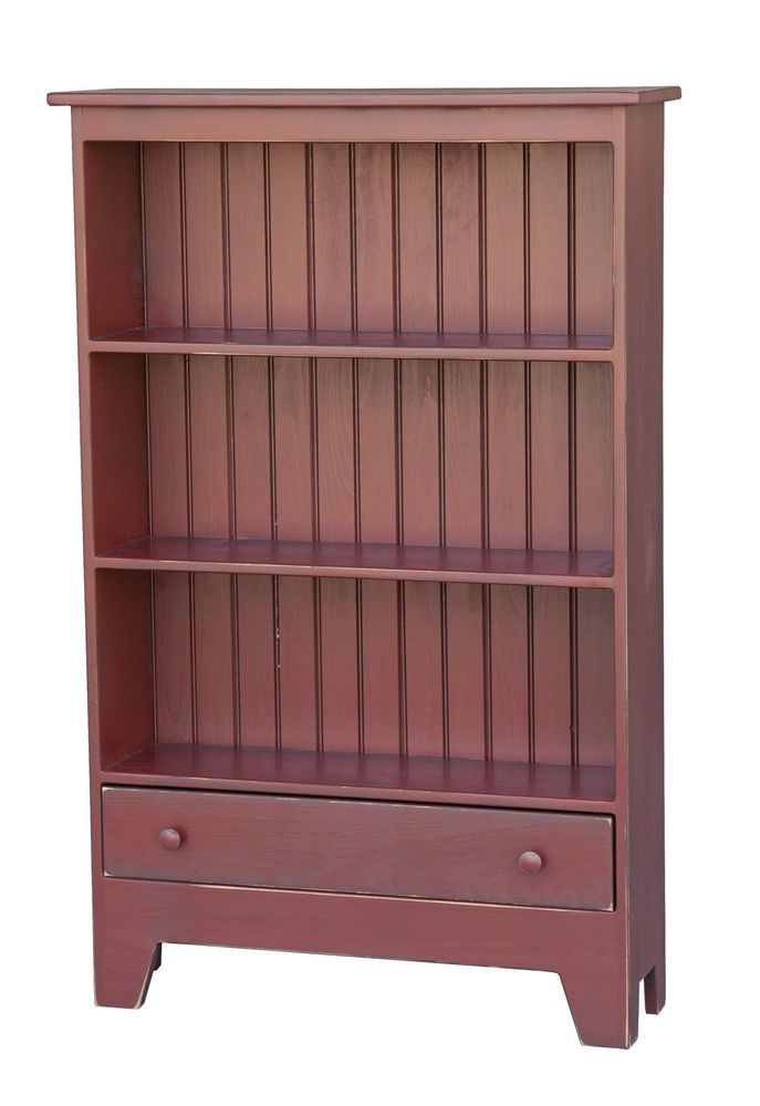 Bookcase storage cabinet w drawer primitive amish handmade for Bookshelf with drawers