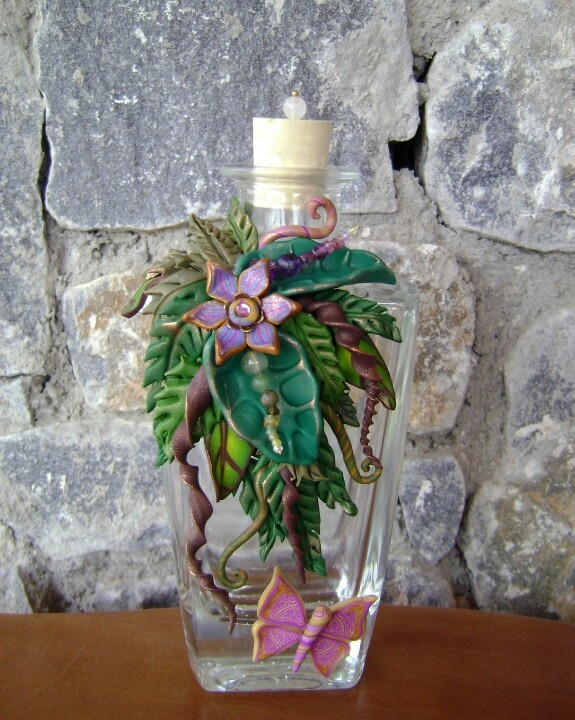 Bottle covered with polymer clay