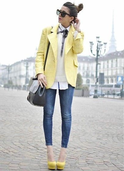 I don't know what I love more, the yellow blazer or the yellow shoes.