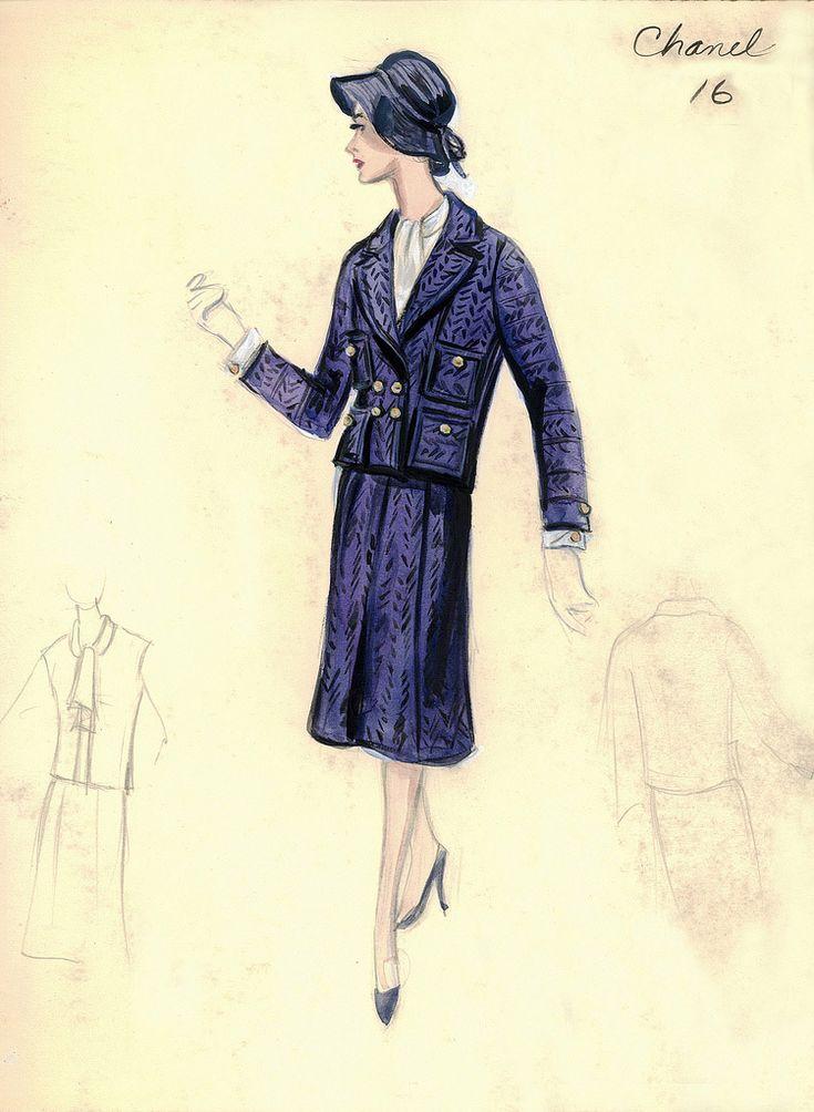 vintage chanel fashion sketch classic chanel