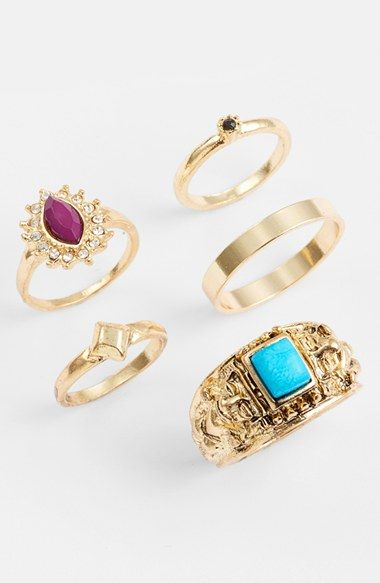 Topshop Assorted Rings (Set of 5) | Nordstrom