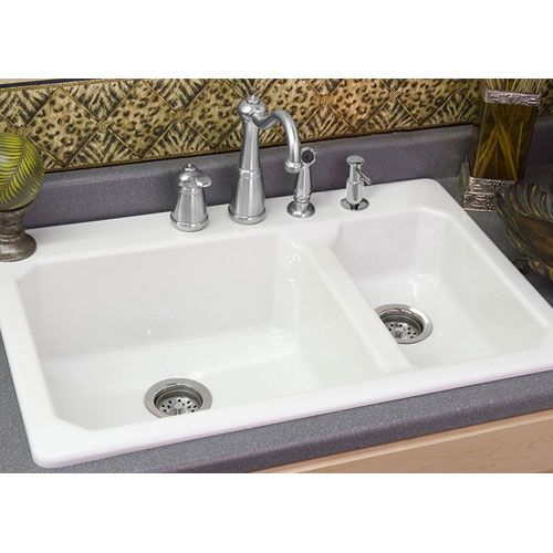 White Double Kitchen Sink : Cranston White Double Bowl Kitchen Sink For the Home Pinterest