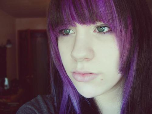 Purple under black | Hair Color Ideas | Pinterest