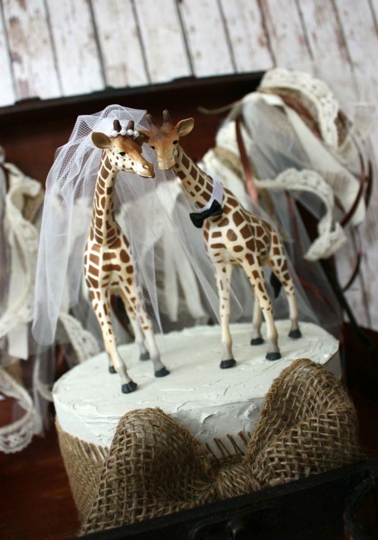 Giraffe Woodlands Wedding Cake Topper Giraffe Wedding Just Married Bride And Groom Cake Topper