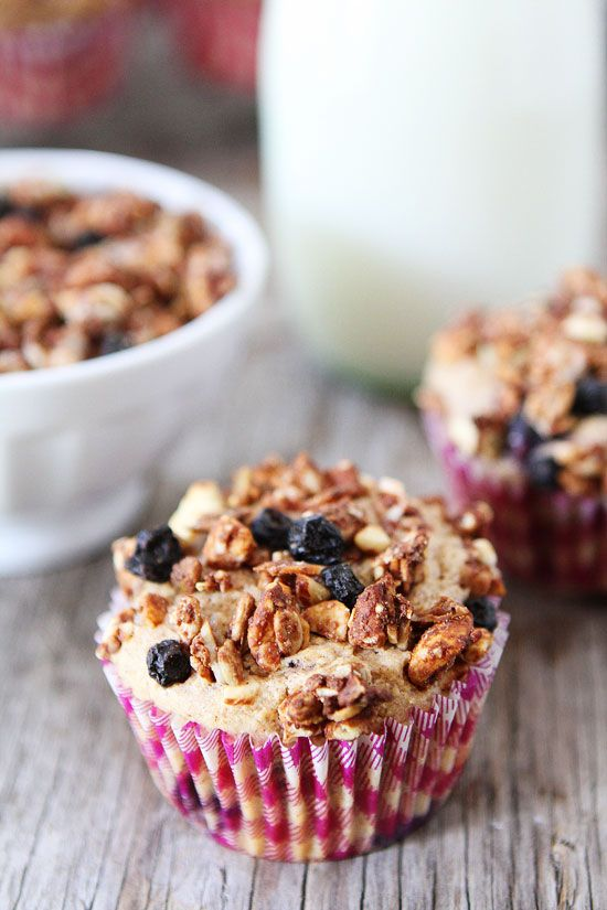 Whole Wheat Mixed Berry Granola Muffins Recipe on twopeasandtheirpod ...