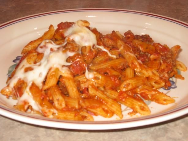 Baked Penne With Ground Beef and Tomato Sauce (Homemade sauce)