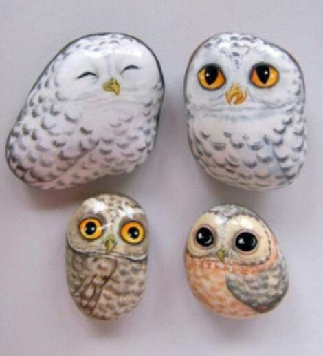 Next paint in the iris with Lemon Yellow. Create a grey from White and Black in equal proportions and start to paint in the dark part of the plumage. As you work down your owl add more Black to the mix to darken it. By the time the plumage at the bottom of the Owl has been reached the .