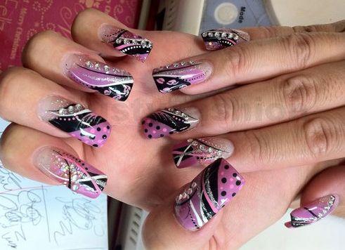 gel nail designs with rhinestones | Nailz = ) | Pinterest