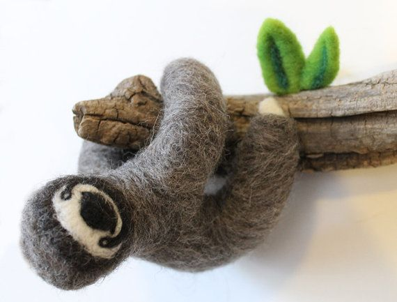 Needle Felted Sloth On Tree Branch Home Decor Wall Art