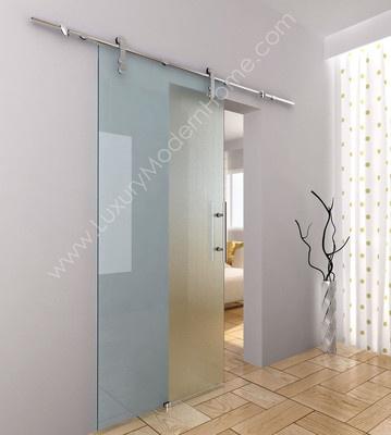 Modern luxury frameless sliding glass barn door hardware roller handle