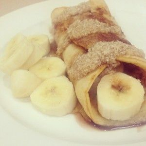 COCONUT CREPES WITH BANANA, CHOCOLATE SAUCE & MAPLE COCONUT SAUCE