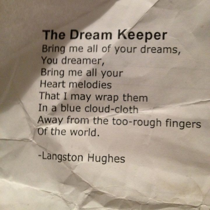 The Dream Keeper - Langston Hughes • | Quotes | Pinterest