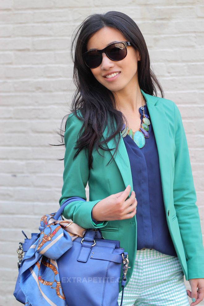 extra petite blog: blue and teal outfit-gingham pants, teal blazer, scarf.   http://www.extrapetite.com/2012/04/scarf-bow-and-spearmint-gingham.html